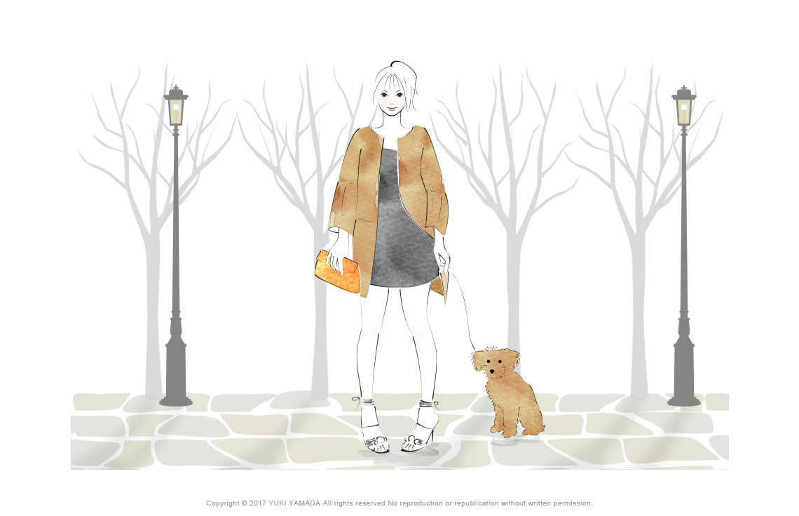 秋の散歩 gilr イラスト