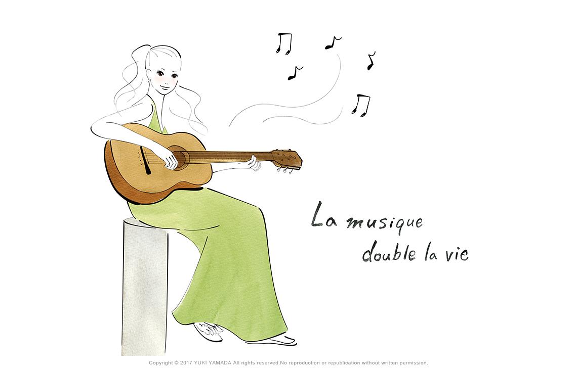 音楽 ギターを弾く女性 イラスト