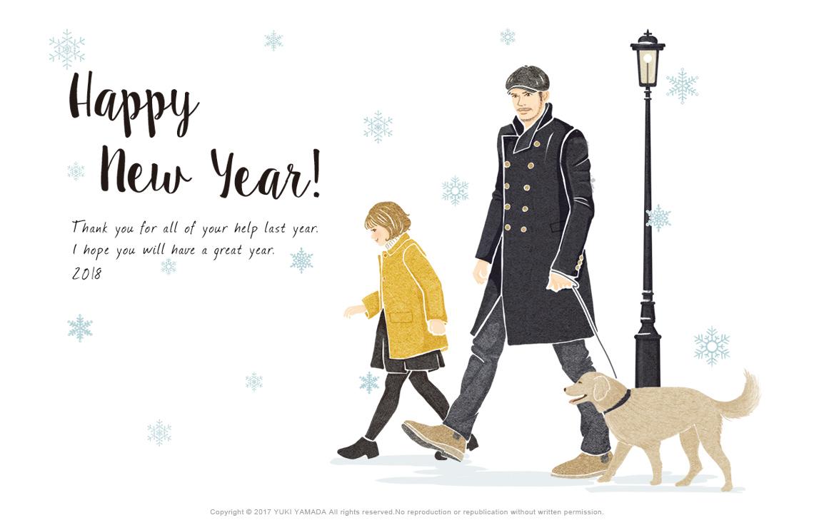 happy new year2018年 戌年 年賀状用イラスト