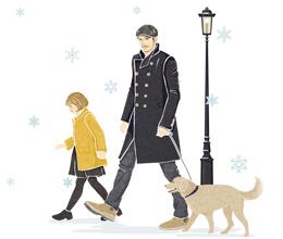 2018年賀状 犬の散歩 イラスト