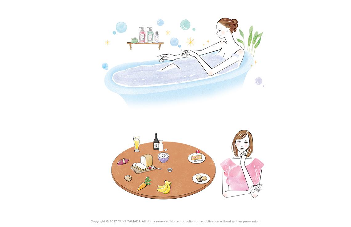 ライザップ 、お風呂、糖質ダイエット、イラスト
