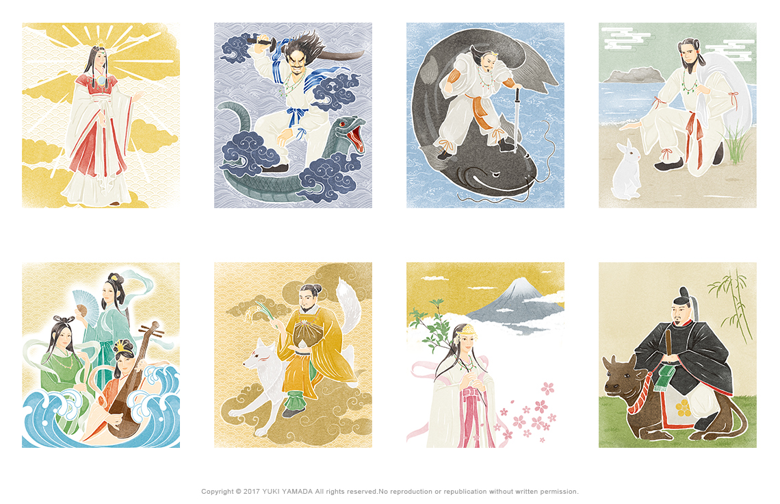 カットイラスト(天照大神、スサノオ、大国主の稲葉の白兎、タケミカヅチ、ヤマトタケル、宗方三女神、コノハナサクヤビメなど)