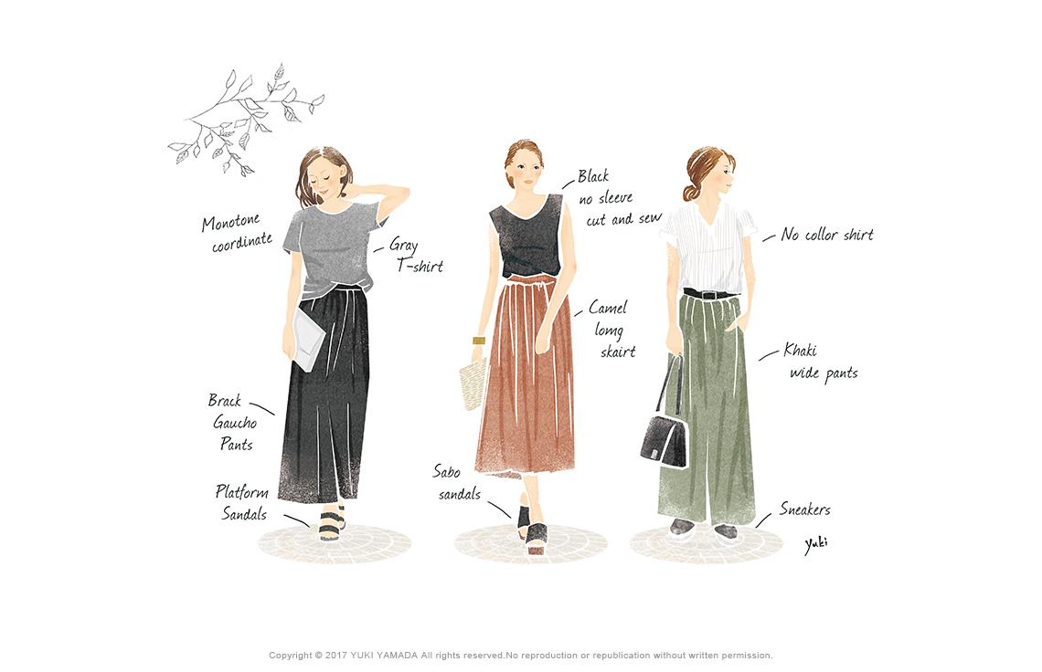 女性の3種類のコーディネートイラスト
