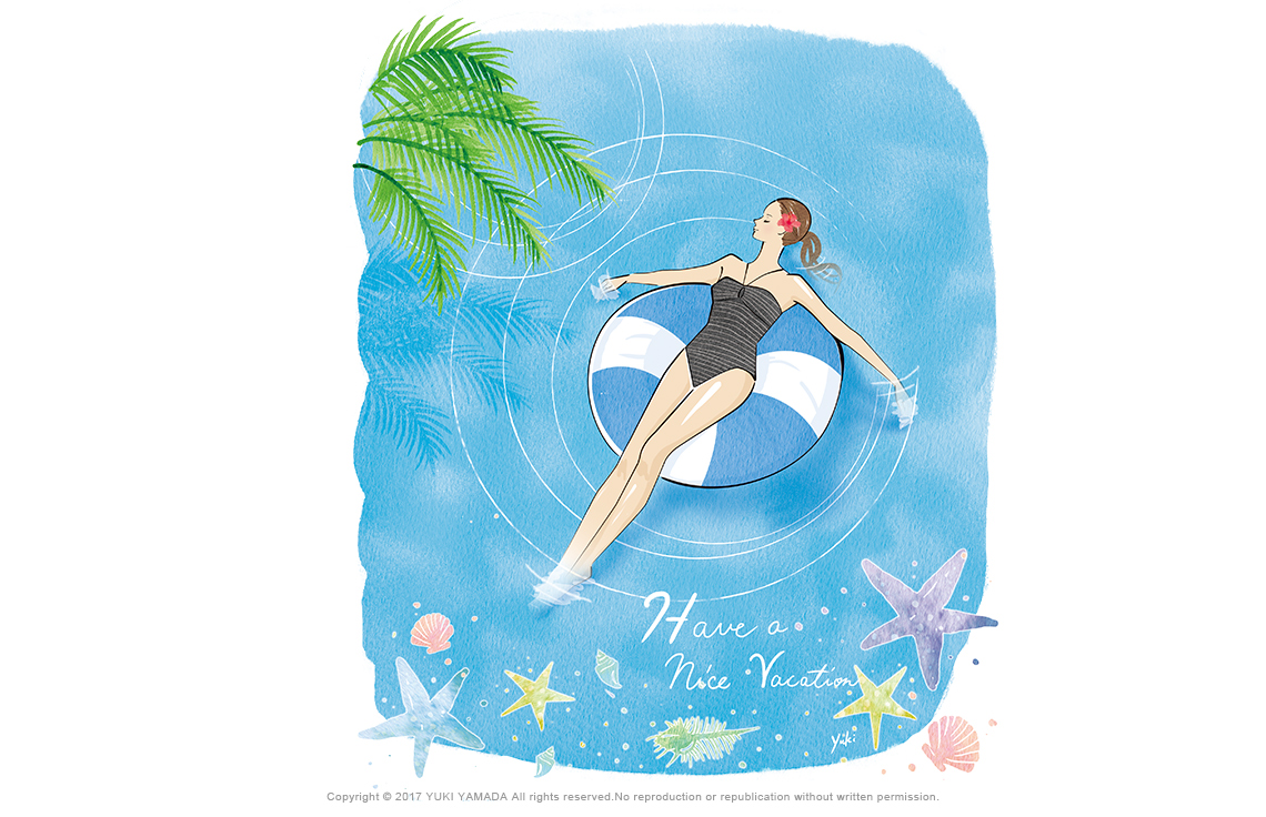 「Have a nice vacation」 海で浮き輪に浮かんでリラックする女性のイラスト
