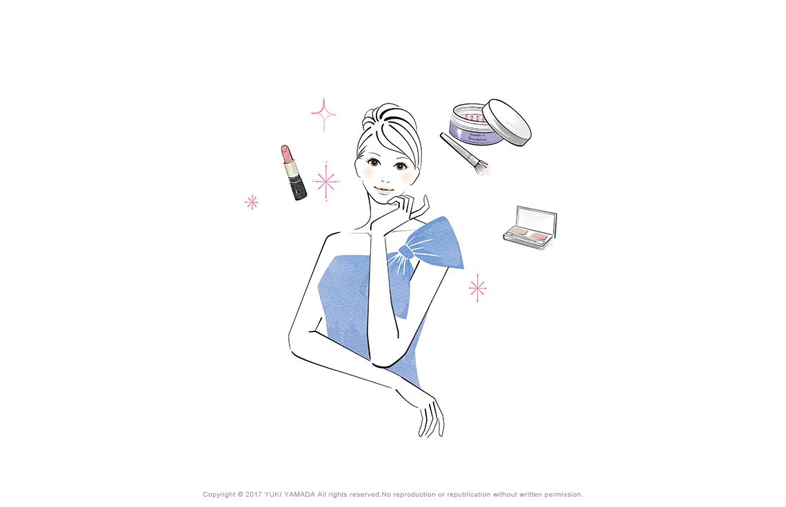 「makeup」 口紅・アイシャドー・パウダーなど化粧品に囲まれる女性のイラスト