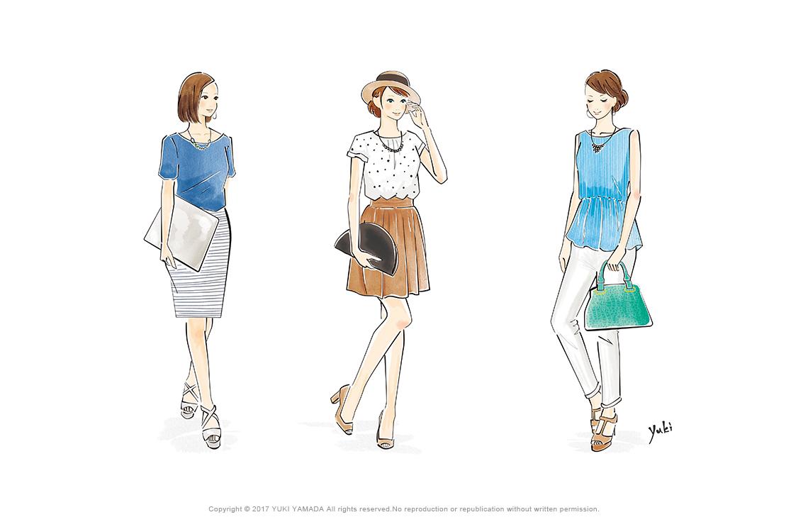 3人の女性の夏のファッションコーディネートイラスト