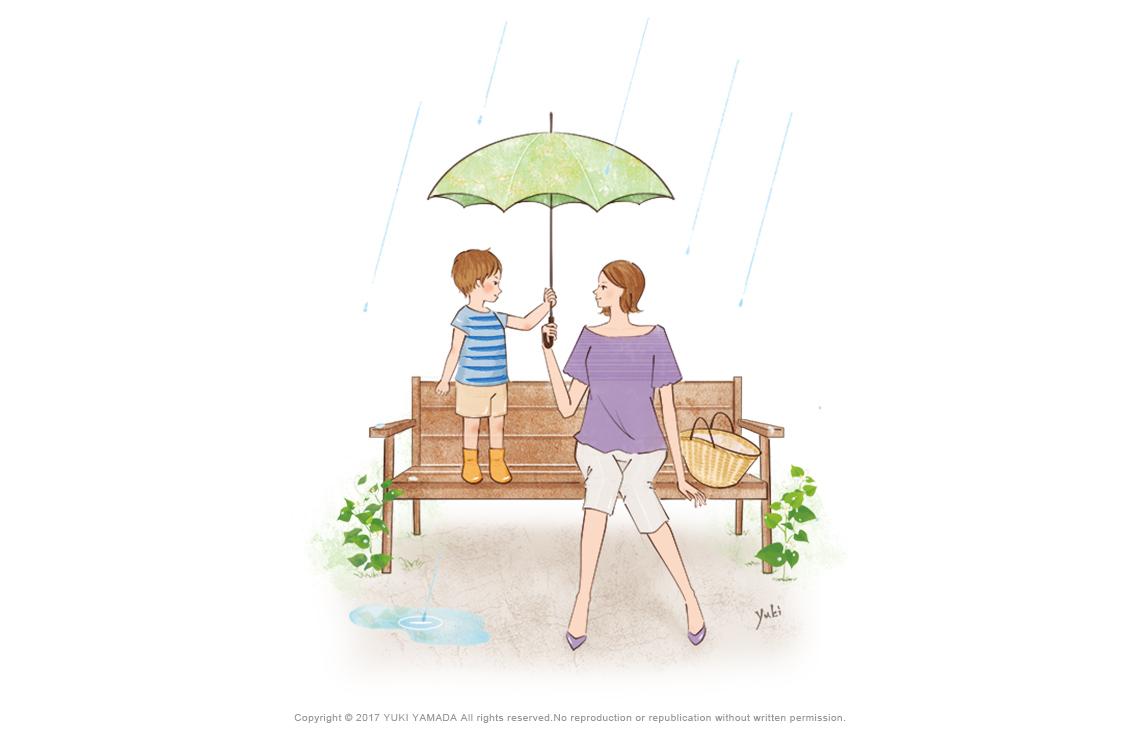 傘と僕とママのイラスト