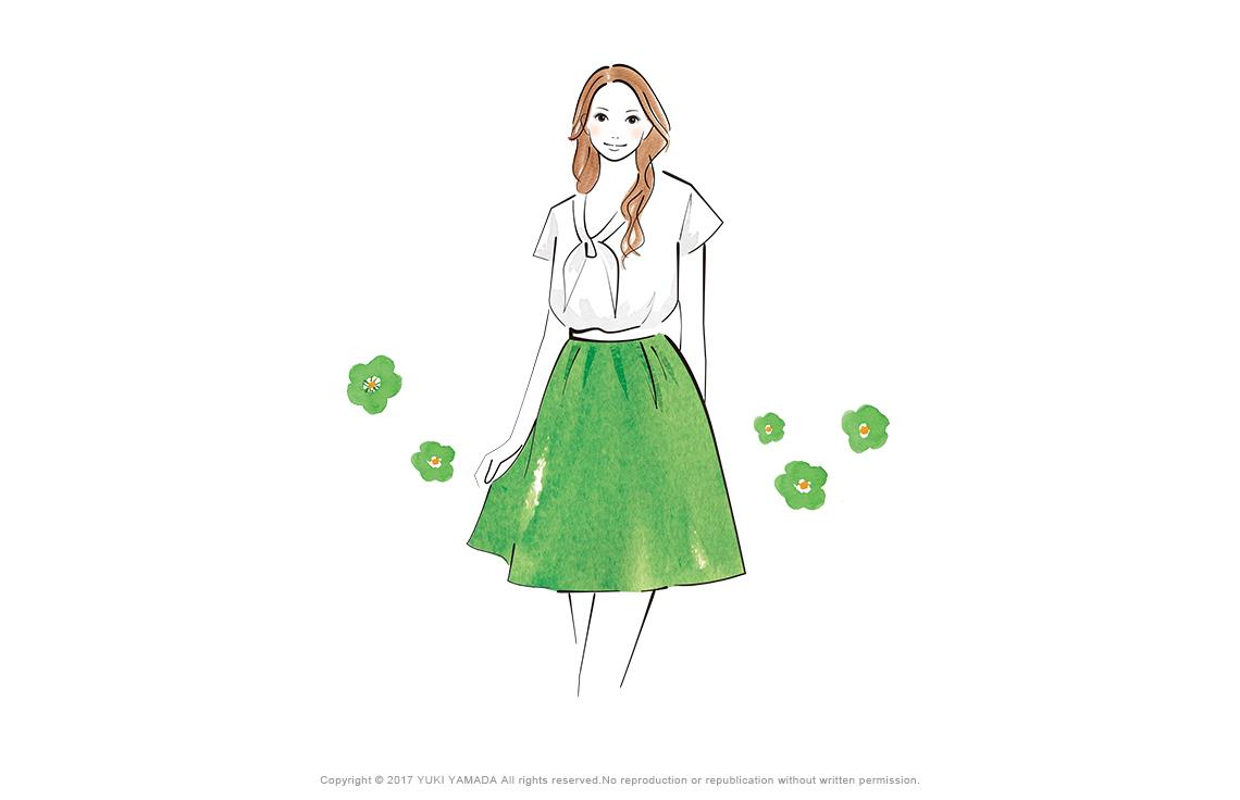 Greenのスカートを履く女性のイラスト