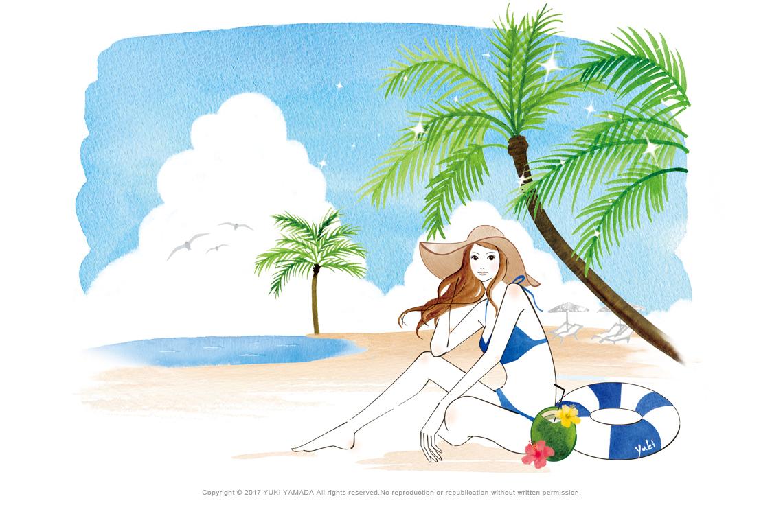 「Summer vacatin」 海辺でくつろぐ女性のイラスト