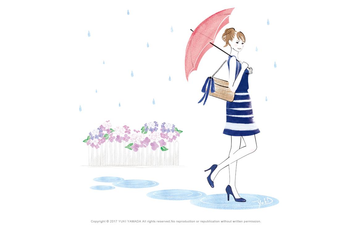 初夏の雨 傘をさす女性のイラスト