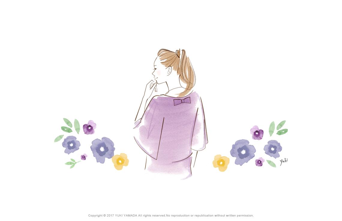 考え事をする女性の後ろ姿のイラスト