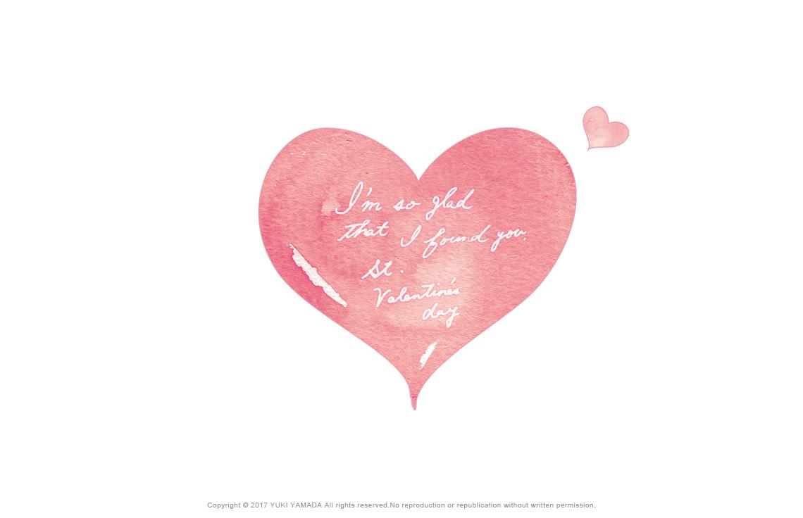 Valentine Day   ピンクのハートの水彩イラスト
