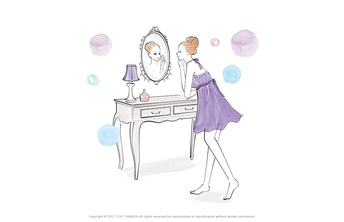 「makeup」鏡に向かって化粧をする女性のイラスト