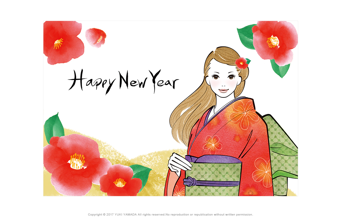New Year's card 赤い椿と着物の女性のイラスト