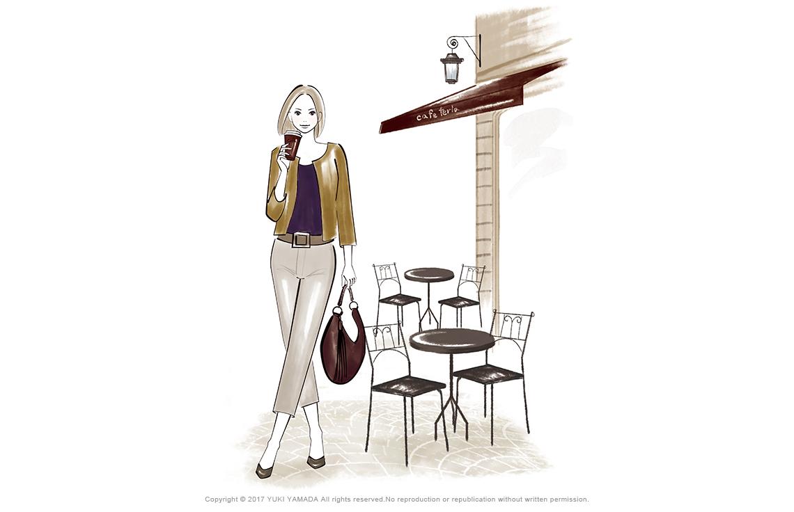 「cafe」 コーヒを持つ女性のイラスト