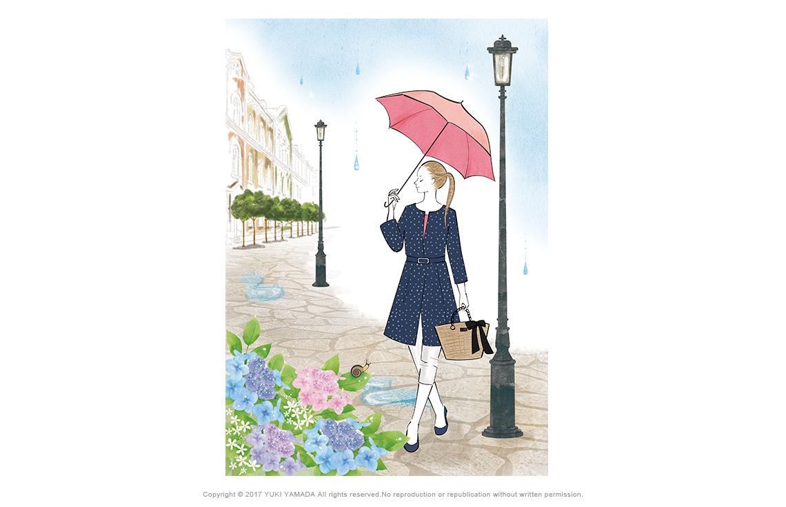 雨降りの日 傘をさす女性のイラスト