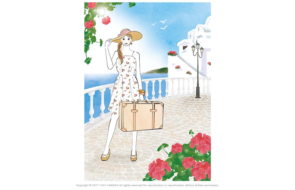 「バカンス」 旅行鞄を持ってヨーロッパの白い街並みを旅する女性のイラスト