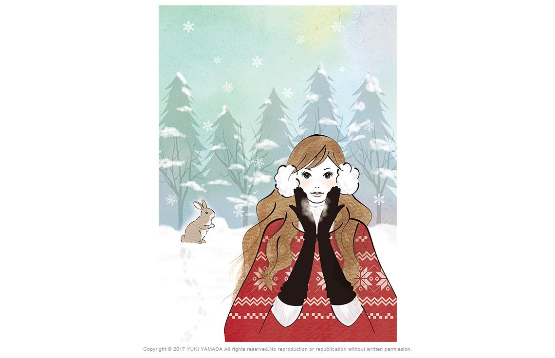 「snowy day」 雪の日にロング手袋と耳あてをつけた女性とうさぎのイラスト