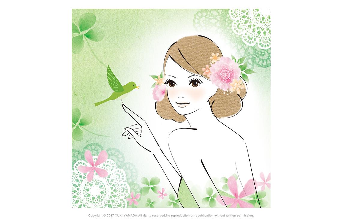 小鳥と女性と四つ葉のクローバーのイラスト
