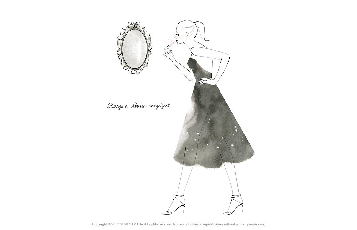 鏡に向かって口紅をつける女性のイラスト