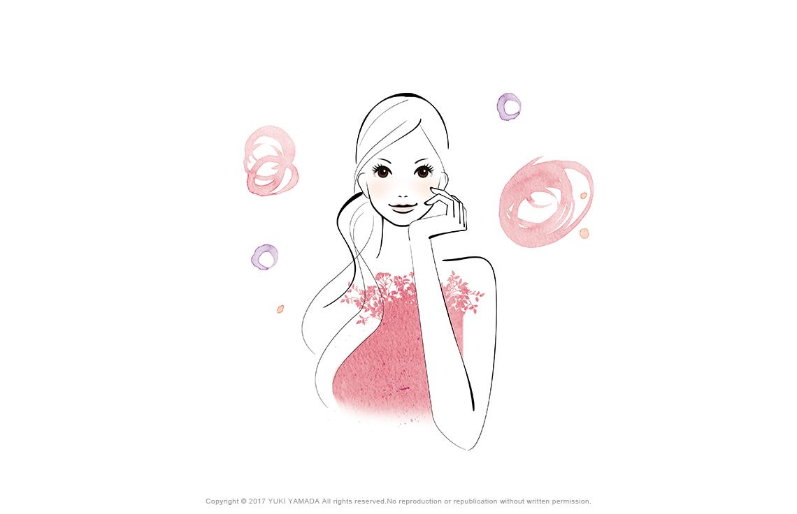 頰に手をあてて微笑む女性のイラスト
