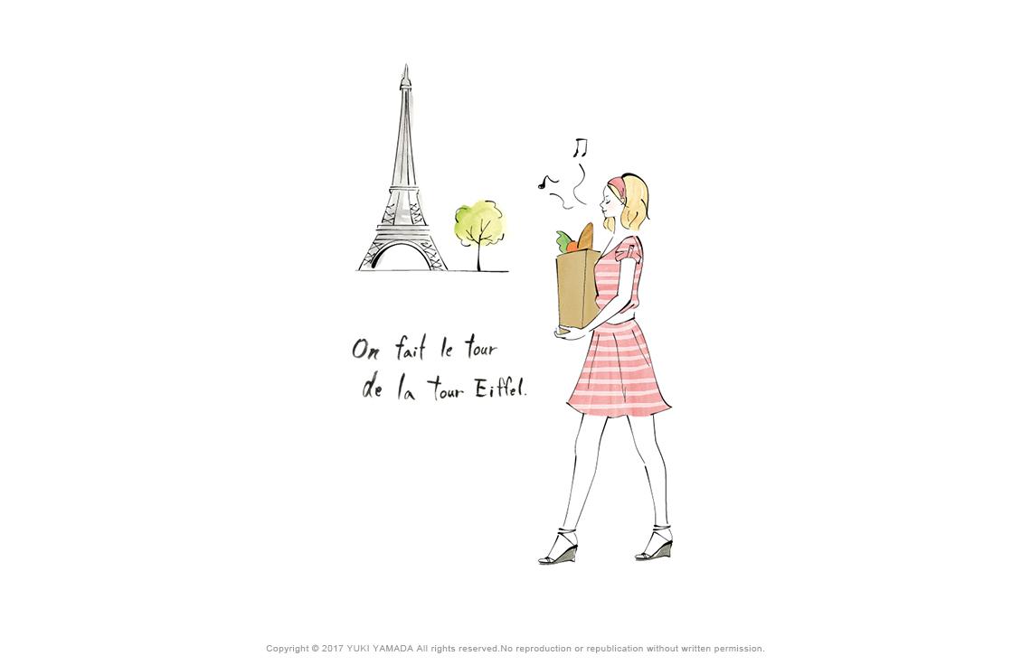 「エッフェル塔」 パリで買い物袋を持つ女性のイラスト