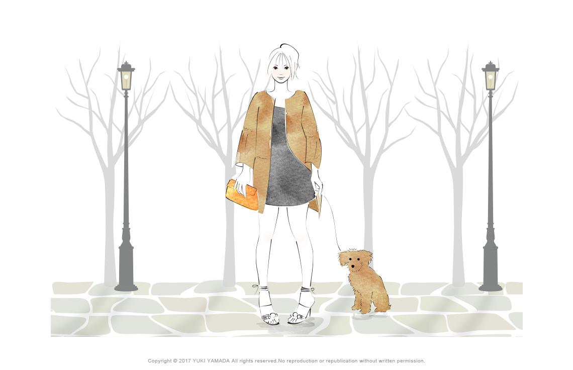 秋の散歩 犬と散歩をする女性のイラスト