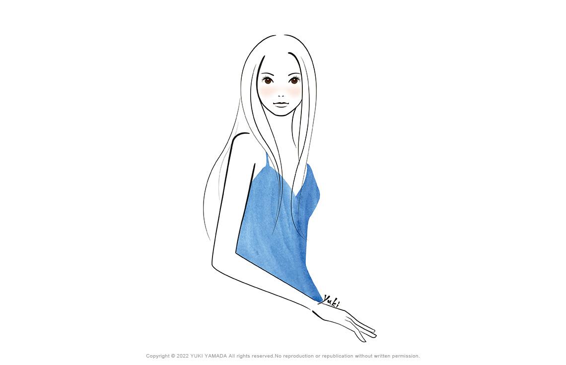 水色のドレスの女性(美容・スキンケア)のイラスト