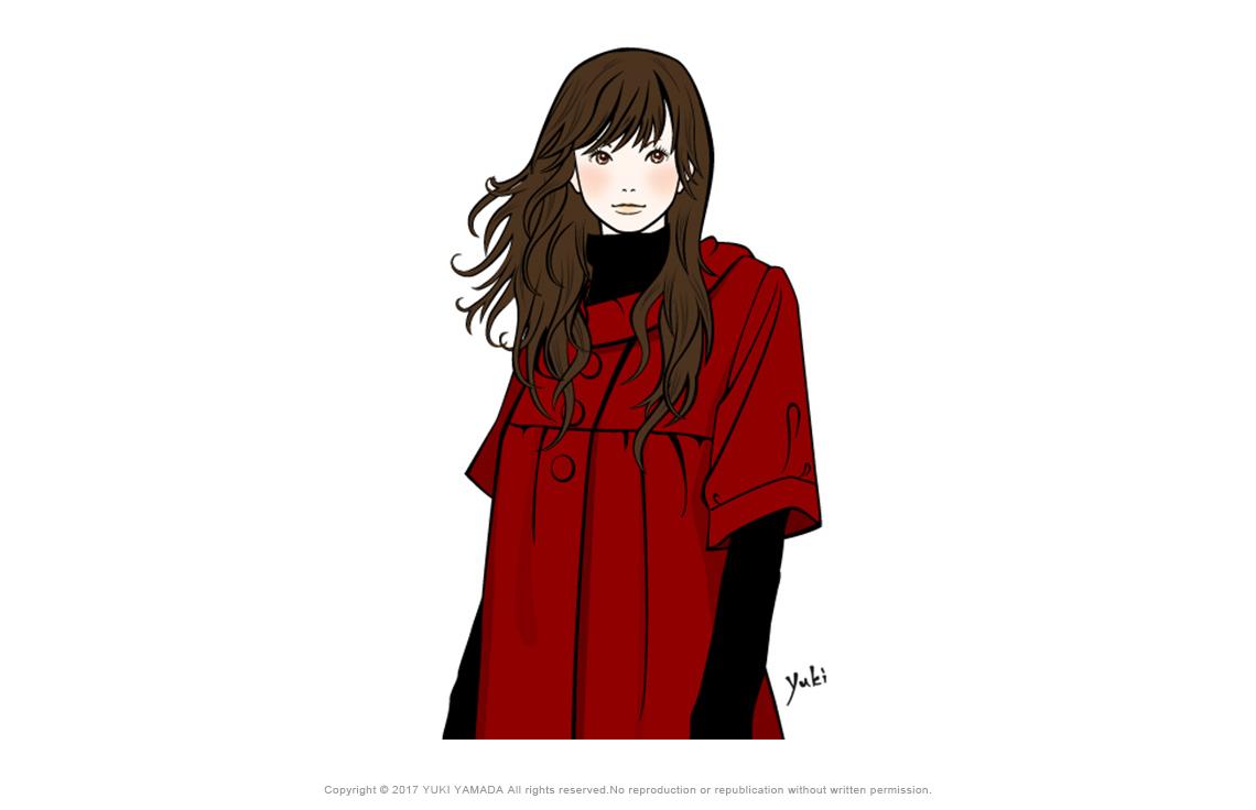 赤いコートを着ている女性のイラスト