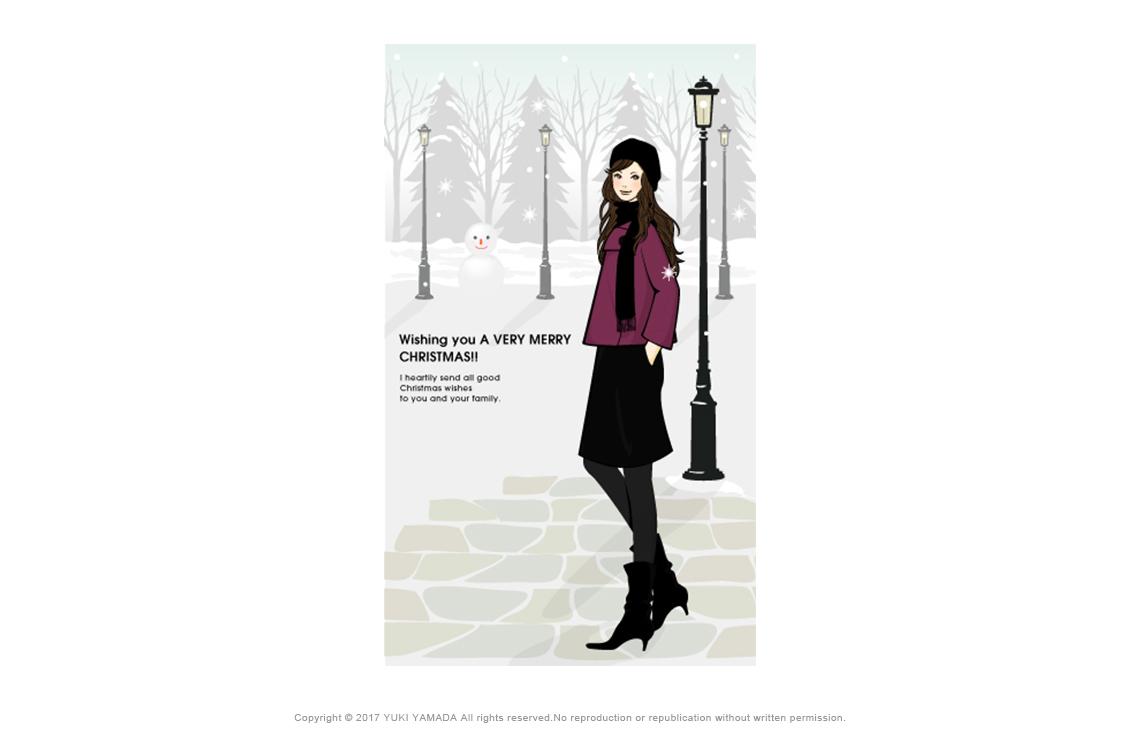 White christmas 雪景色の中に佇む女性のイラスト