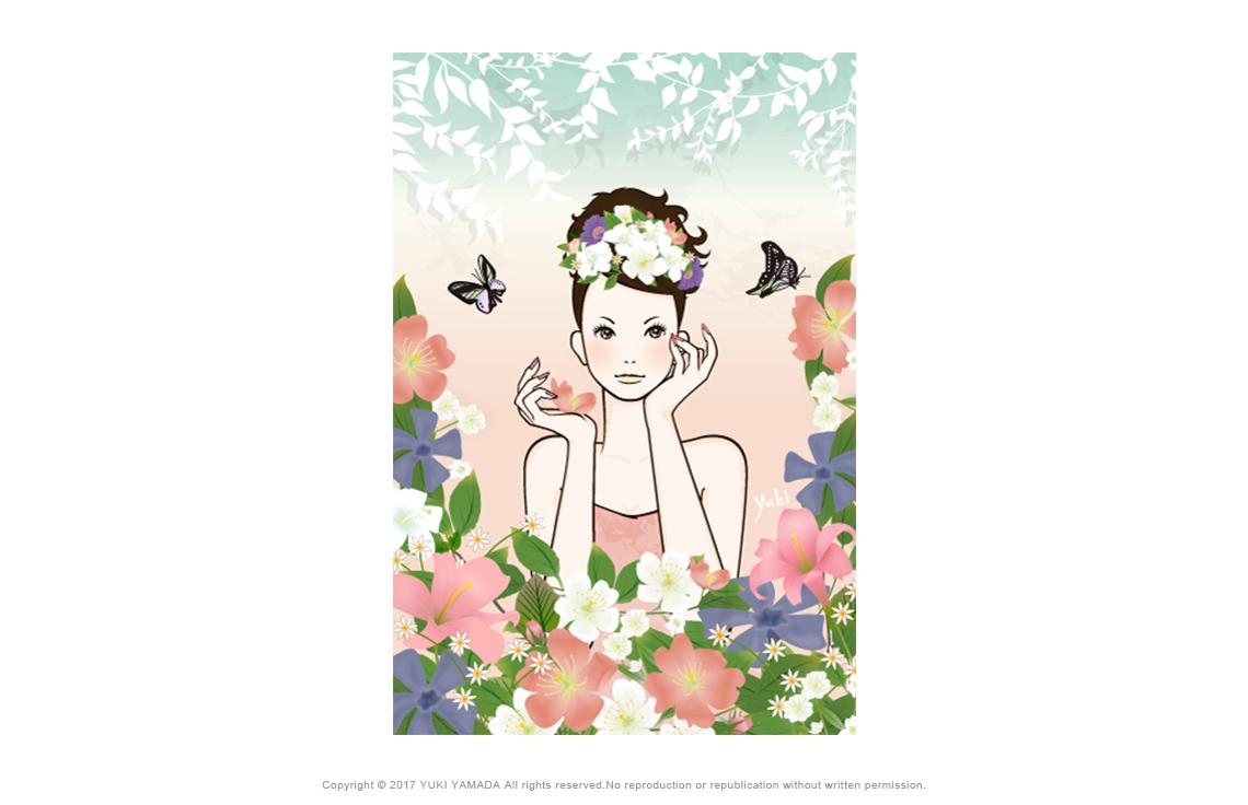 「flower gerden」 花園で花を摘む女性のイラスト