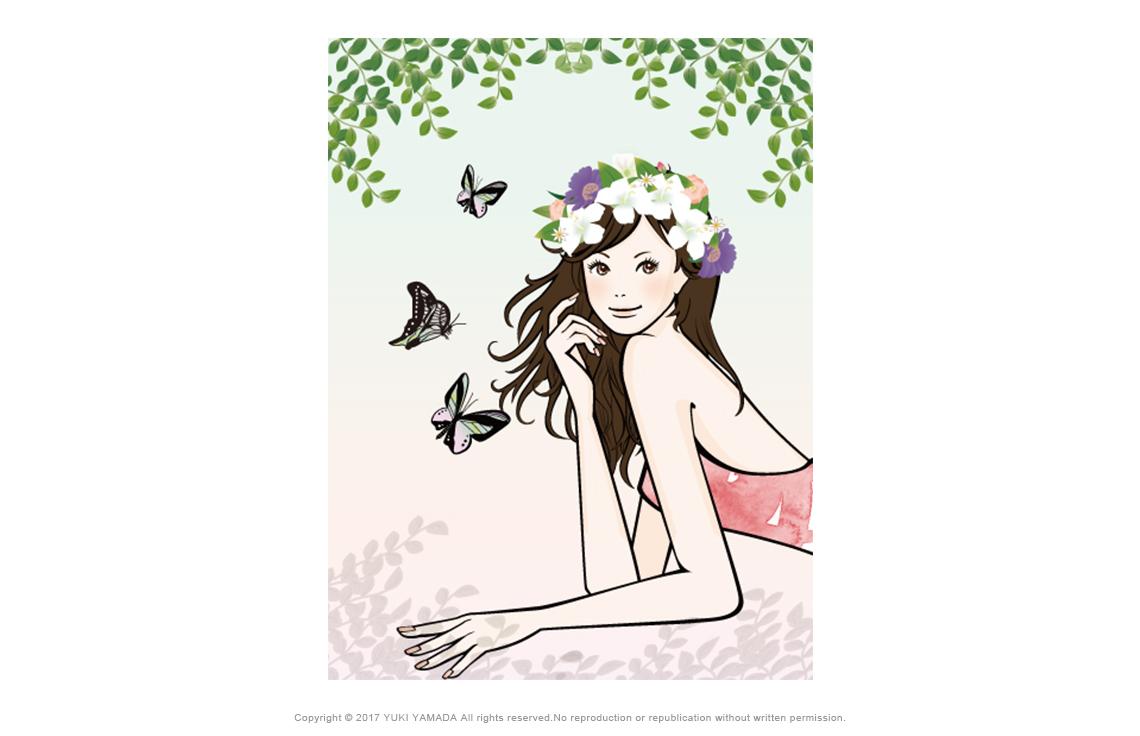 花冠の女性のイラスト