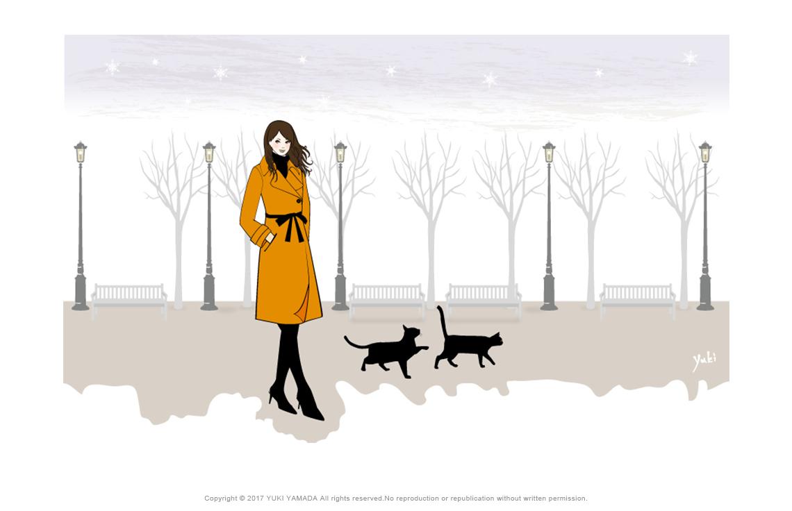 「猫と黄昏時」 2匹の猫と女性のイラスト