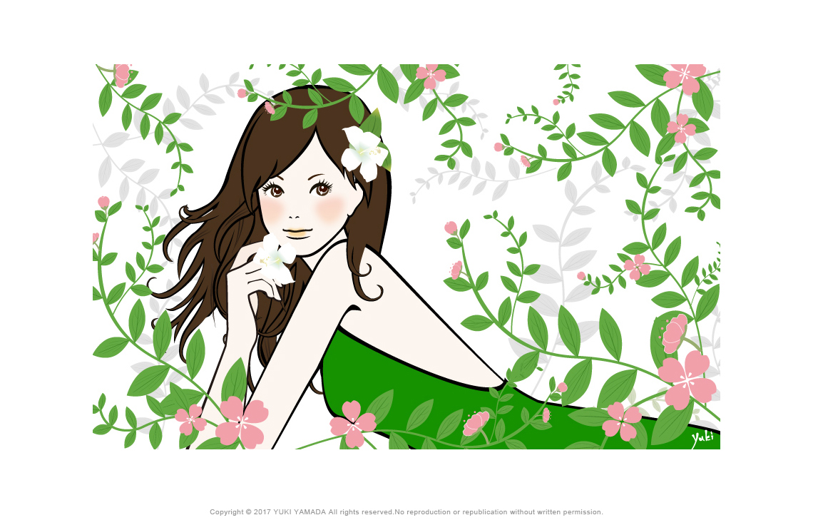 「flower and gilr」 花に囲まれた緑のドレスの女性のイラスト