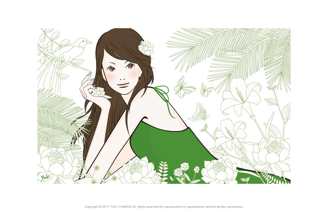 「森の女」森の線画と女性のイラスト