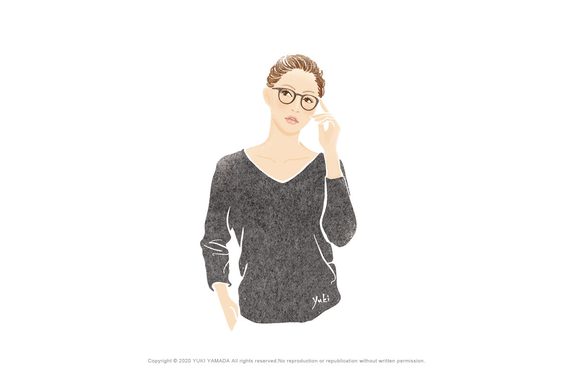 メガネの女性 イラスト