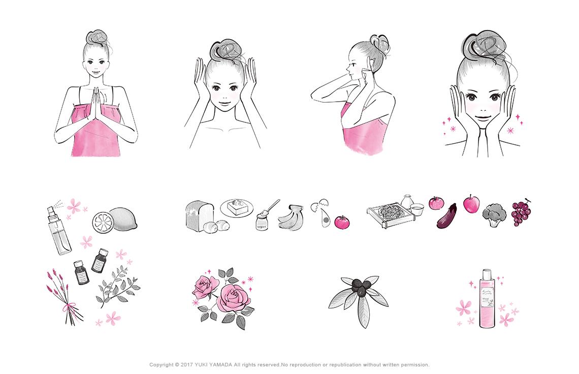書籍『アトピー肌の肌浄化スキンケア』カットイラスト