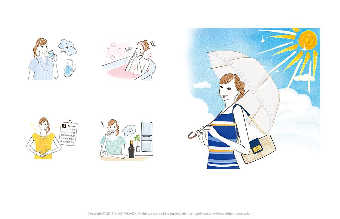 日傘をさす女性のイラスト、お風呂に入る女性のイラスト、養命酒を飲む女性のイラストなど