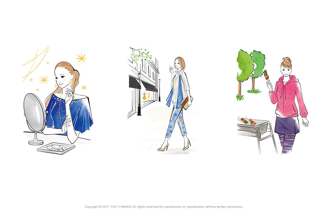 鏡を見る女性、ウィンドウショッピング、バーベキューのイラスト