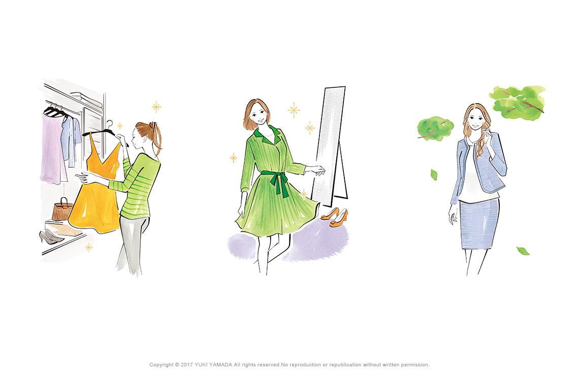 服を選ぶ女性、鏡の前の女性、スーツの女性のイラスト