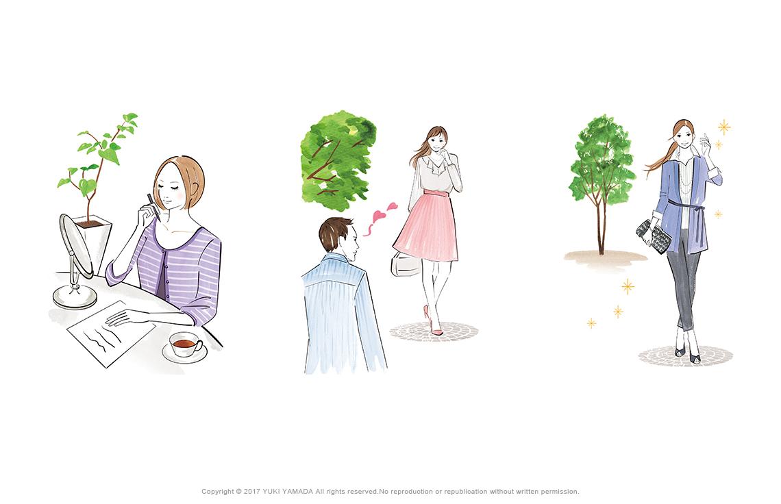 オフィスの女性、デートファッション、大人の女性のイラスト