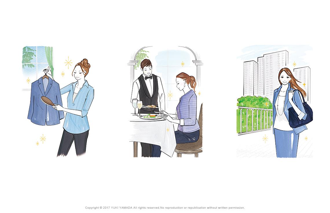 服のお手入れ、レストラン、ビジネス街の女性のイラスト