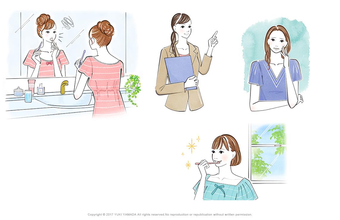 鏡で歯茎を見る女性、歯磨きをする女性、歯茎が痛い女性のイラストなど