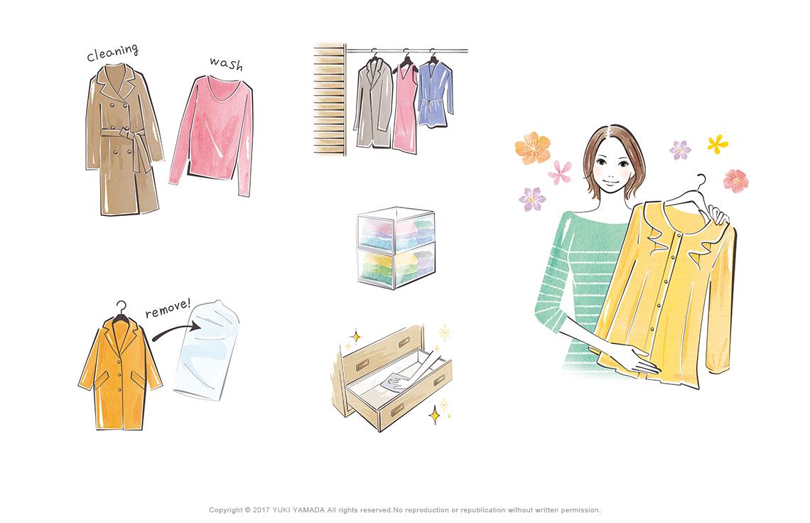 「暮らしの環」衣替えの仕方 カットイラスト