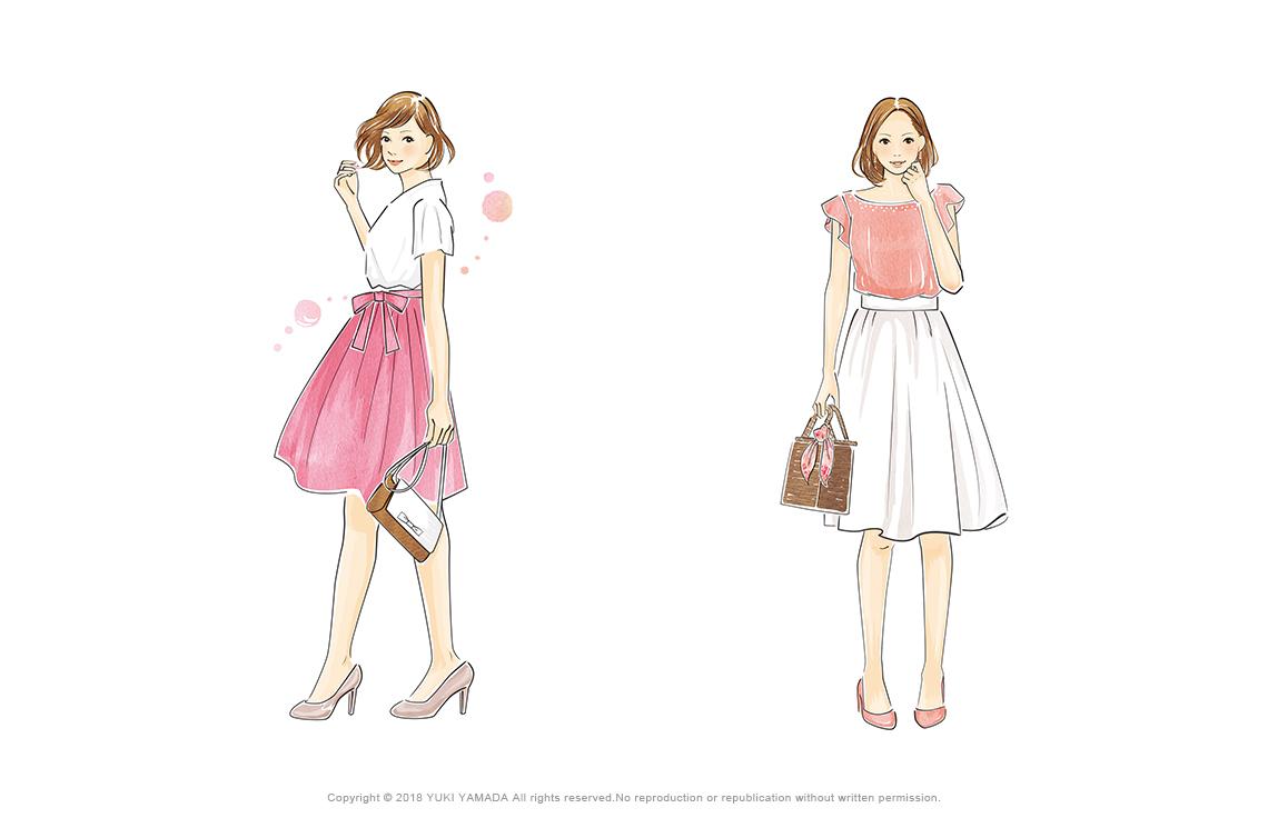 愛されファッションと出会いの風を呼ぶ愛されファッションのイラスト