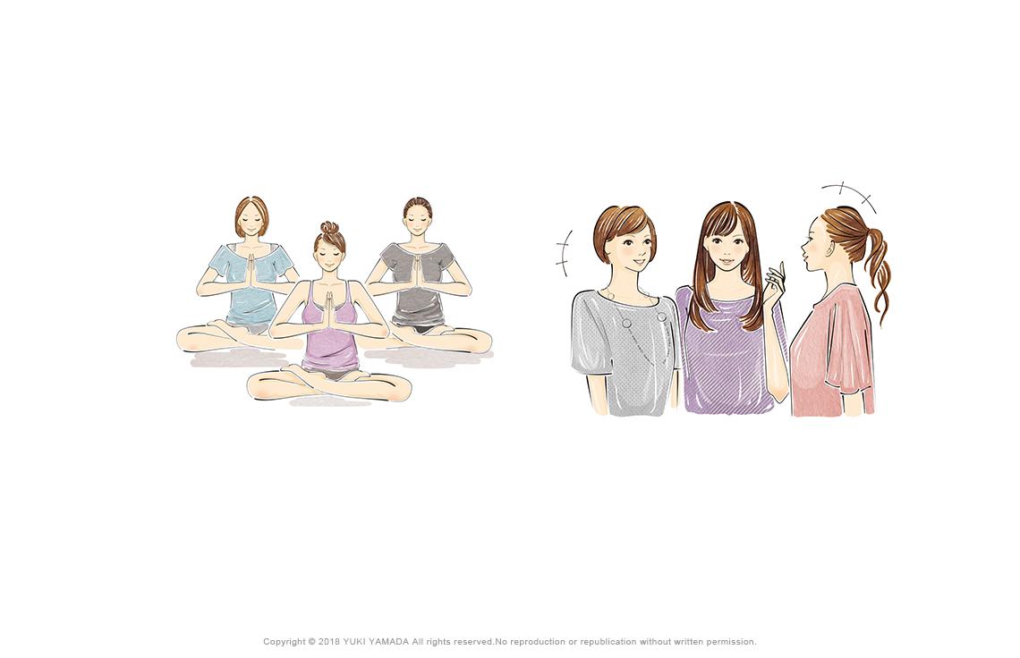 恋に縁遠くなるNG生活パターンのイラスト(家でダラダラ、女どおしでつるむ、理想が高いなどのイラスト)