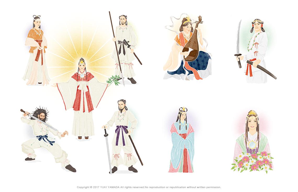 弁財天、菊理媛神、日本武尊、イザナギ、イザナミ、アマテラス、スサノオ、オオクニヌシなど神々のイラスト