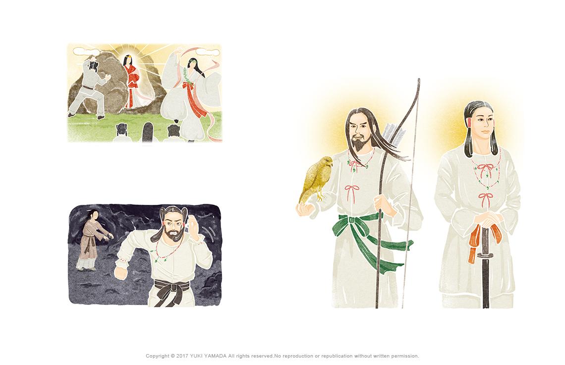 天の岩戸、ニニギノミコト、神武天皇のイラストなど