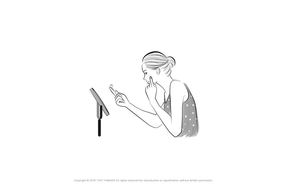 コンタクトを外す女性のイラスト