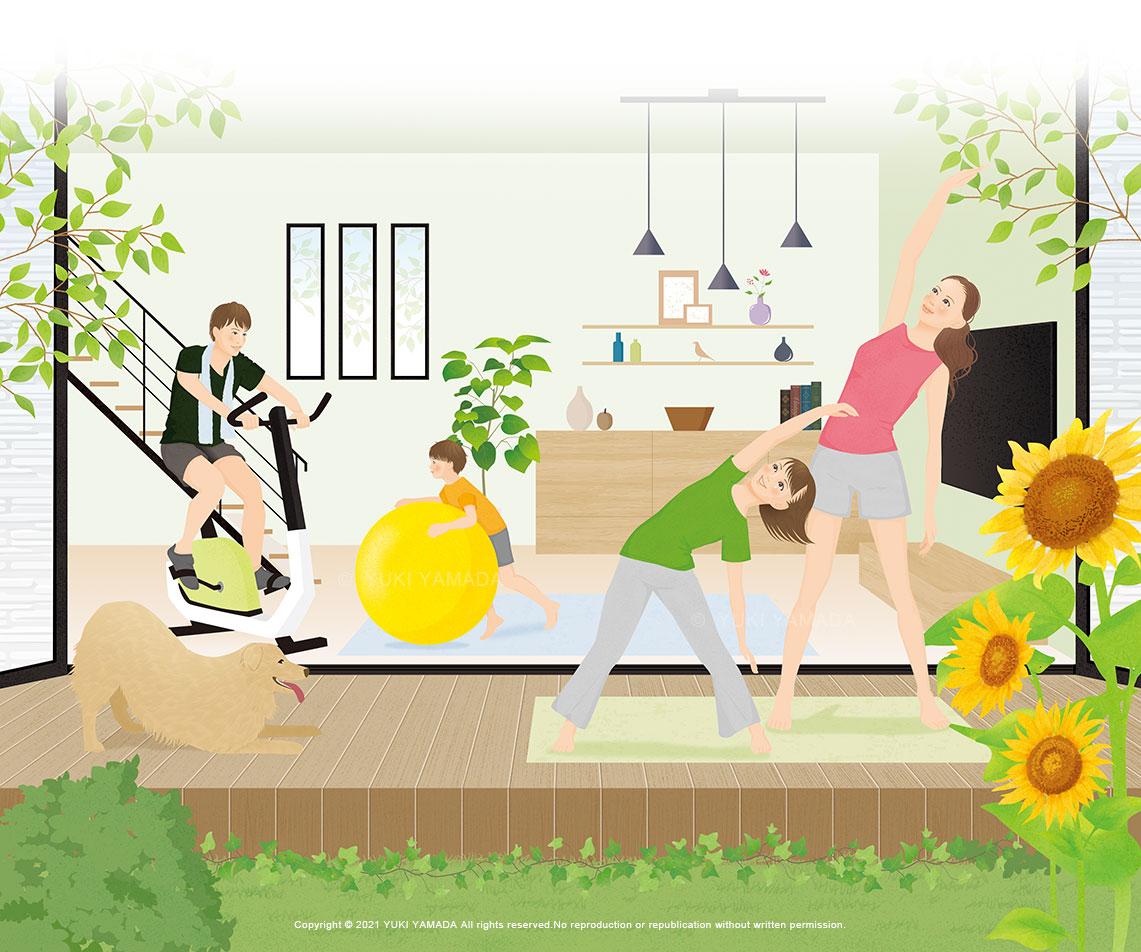 戸建て住宅のファミリーイラスト 夏 エクササイズ